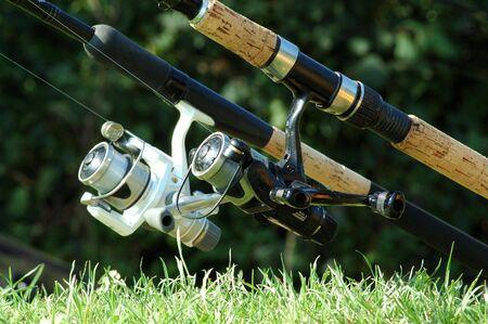 fishingline: A fishing pole on a fishing Stock Photo