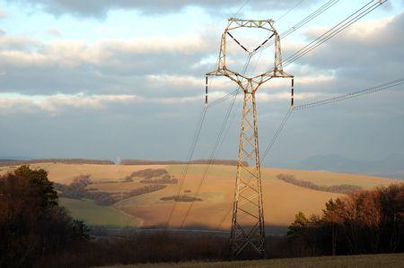 statics: Powerlines pole in nature scenery Stock Photo