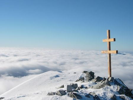 inversion: High Tatra, dramatic shot over the cloud formed by a temperature inversion Stock Photo