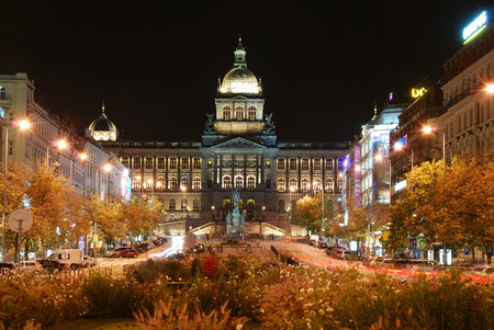 View on Wenceslas square in the night