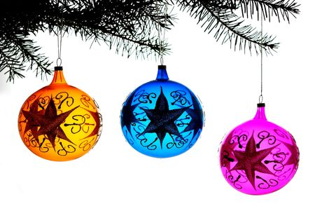 Christmas decorations opposite white background