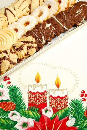 Christmas cake on table cloth photo