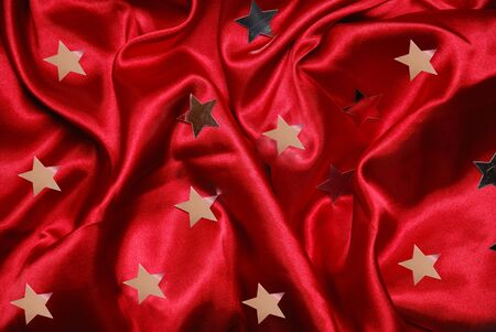 sateen: Christmas red sateen with stars