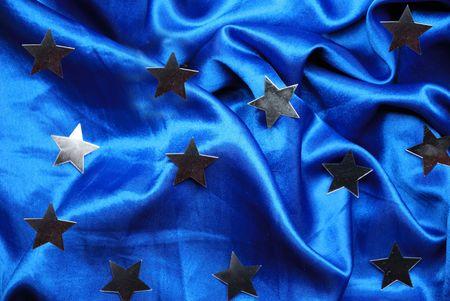 sateen: Christmas blue sateen with stars Stock Photo