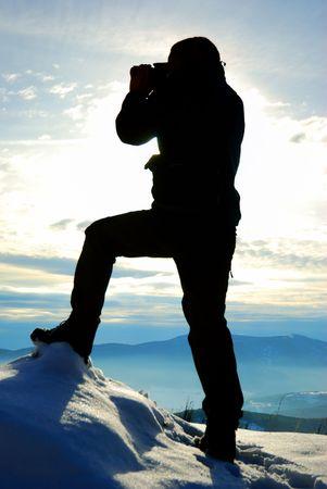 Jubilant skiers on top of mountain Stock Photo - 2137401