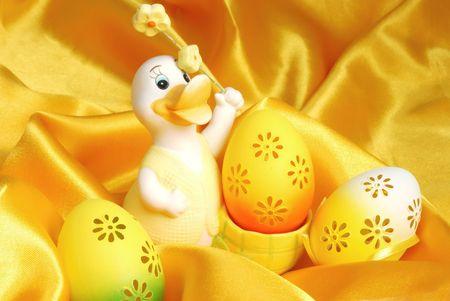 sateen: Easter eggs on golden sateen background