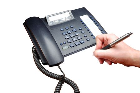 Business phone and signature on white photo