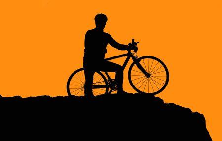 Photo of biker silhouette in sunset photo