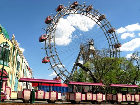Prater - giant old ferris wheel in Vienna, Austria Stock Photo