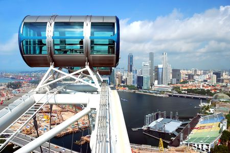 Part of Singapore flyer, largest wheel in the world Editorial
