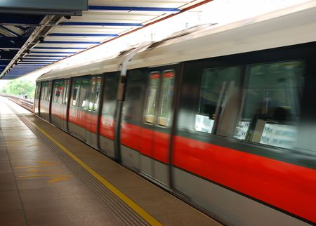 An MRT train in Singapore Stock Photo
