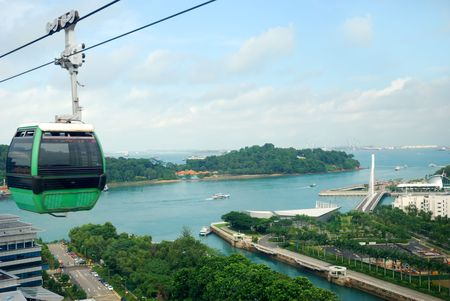 Singapore cable car to Sentosa Stock Photo