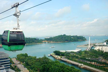 turism: Singapore cable car to Sentosa Stock Photo