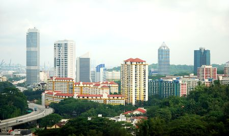 View of Singapore estate housing Stock Photo