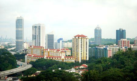 View of Singapore estate housing Stock Photo