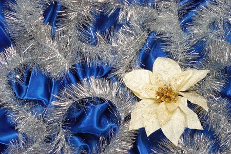 sateen: Blue sateen with flower decoration