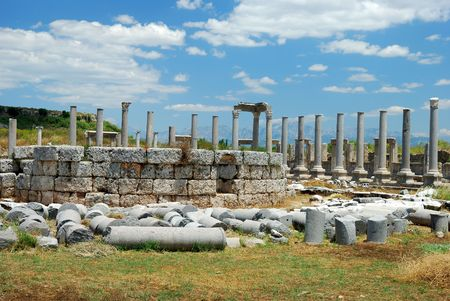 tokens: Greek and Roman Ruins at Perge, Turkey Stock Photo