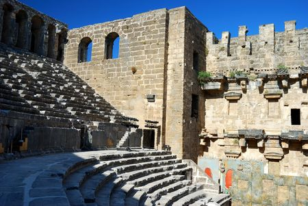 Historical arena Aspendos in Turkey Stock Photo - 4170508