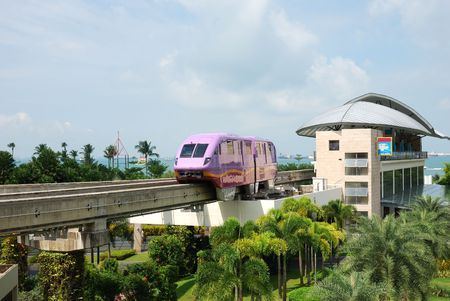 Monorail station in Sentosa, Singapore Stock Photo