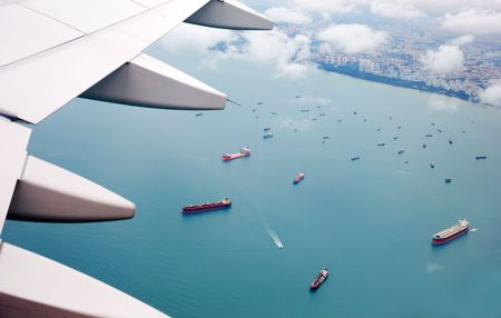 View of plane window on Singapore