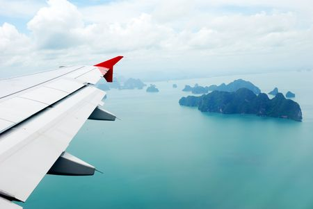 View of plane window on Thai islands Stock Photo