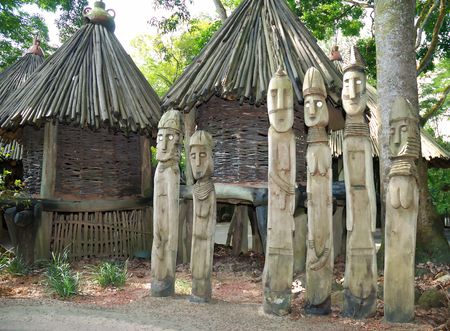 Wooden sculpture decoration in zoo Singapore