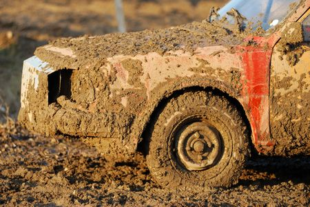 muddy: Wreck of dirty and muddy car Stock Photo