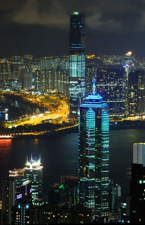 Hong Kong island photographed from Victorias Peak at night