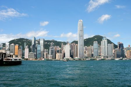 high sea: Hnong Kong island, photo taken from Victoria Harbor Stock Photo