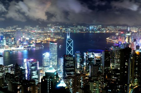 Hong Kong island photographed from Victorias Peak at night