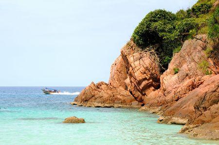 redang: Redang Lang Tengah Beach at Malaysia Stock Photo
