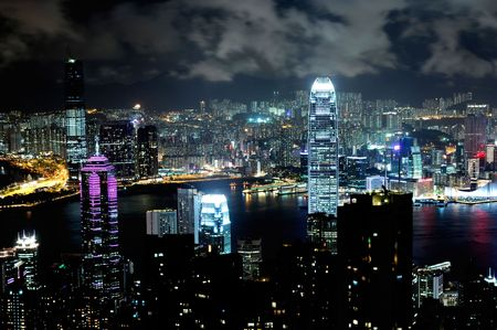 Hong Kong island photographed from Victoria's Peak at night Stock Photo - 6698738