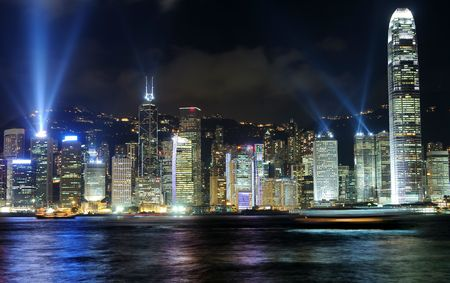 Hong Kong island, photo taken from Victoria Harbor  photo