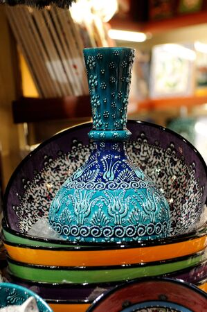 Traditional turkish blue porcelain on the bazzar