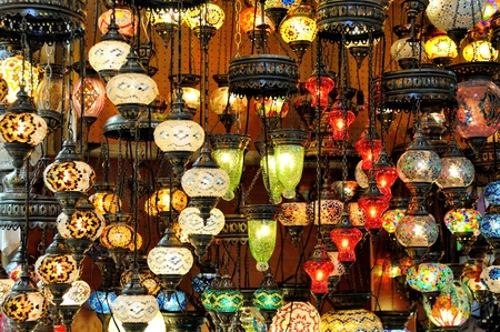 bazaar: Variety of turkish lamps on sale