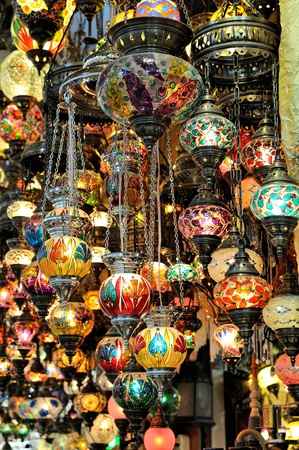 Variety of turkish lamps on sale Stock Photo - 8354329