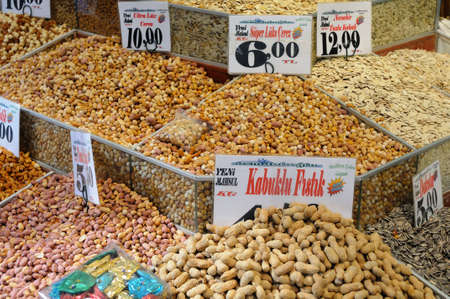 Displays of products on offer in the world famous Spice market in Istanbul Turkey  photo