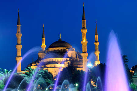 Blue mosque and fountain, Istanbul Stock Photo