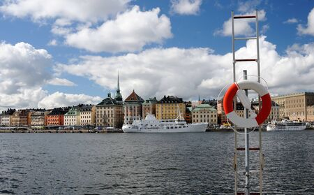 View of Stockholm with the ship
