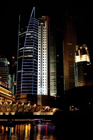 Night skyline of Singapores business district  Stock Photo