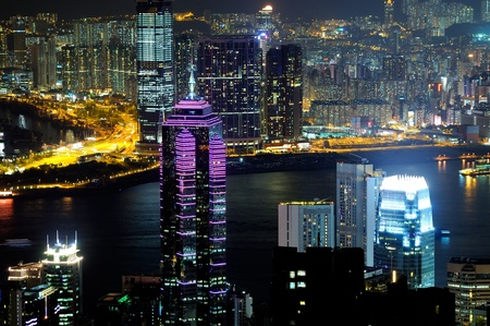 Hong Kong island, taken from Victoria Harbor  Stock Photo