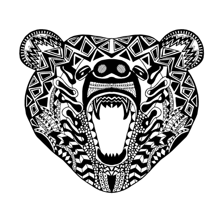 indian tattoo: stylized bear. Animals. Hand drawn doodle.
