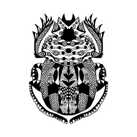 scarab: stylized scarab. Animals. Hand drawn doodle.  Illustration