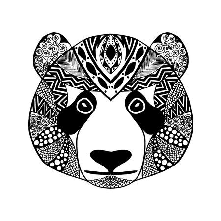 tatoo: stylized panda. Animals.