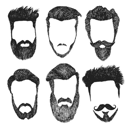 Hand drawn vector set of dress up constructor. Different men faces hipster geek style haircut, beard, mustache. Silhoutte icon creation kit. Design sketch avatar for social media or web site