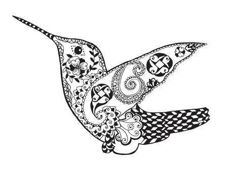 animal: 程式化的蜂鳥黑白色手繪塗鴉。 向量圖像