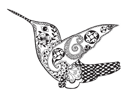 animali: colibrì stilizzato mano bianco nero Doodle disegnato. Vettoriali