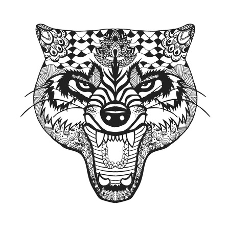 tattoo: stylized roaring wolf Sketch for avatar