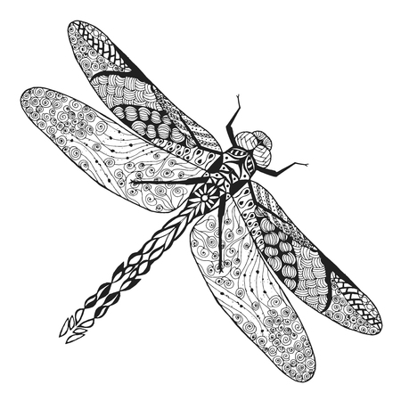 indian animal: stylized dragonfly Sketch for avatar, posters, prints or t-shirt.