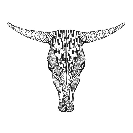 tattoo face: stylized bull skull Hand drawn doodle.